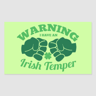 WARNING I have an Irish Temper! from Awesome Irish Rectangular Sticker