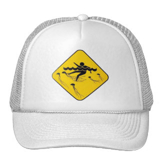 Warning Jellyfish in Water-Street sign Hats
