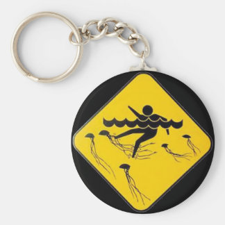 Warning Jellyfish in Water-Street sign Keychains