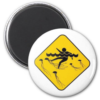 Warning Jellyfish in Water-Street sign Magnet