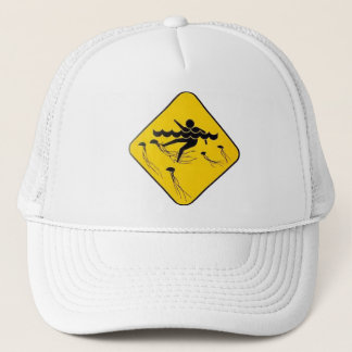 Warning Jellyfish in Water-Street sign Trucker Hat