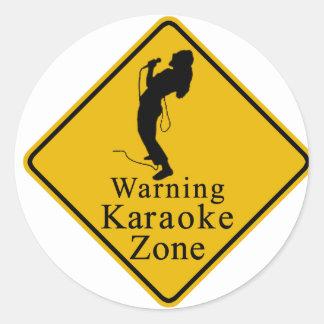 Warning karaoke zone round sticker