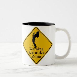 Warning karaoke zone Two-Tone coffee mug
