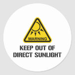 WARNING - Keep Out of Direct Sunlight Round Sticker