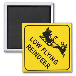 Warning - Low Flying Reindeer Magnet