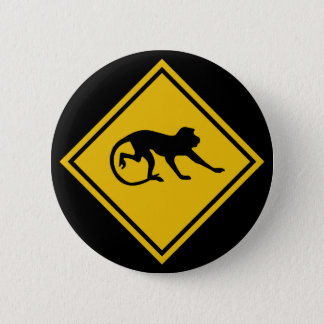 Warning Macaques, Traffic Sign, Malaysia 6 Cm Round Badge