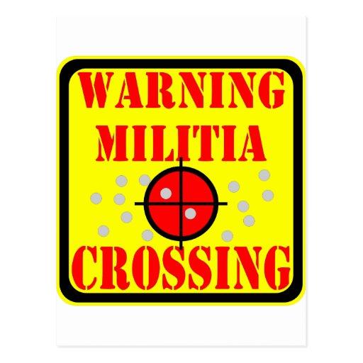 Warning Militia Crossing w/ Crosshairs Scope Postcards