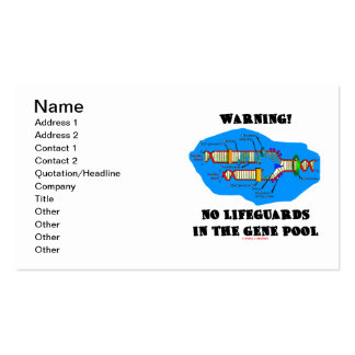 Warning! No Lifeguards In The Gene Pool Business Card Template