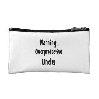warning overprotective uncle black cosmetic bag