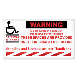 Warning Parking for People with Disabilities Only! Pack Of Standard Business Cards