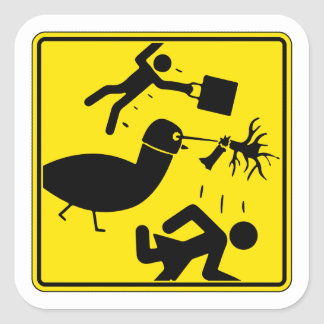 Warning! Pigeon with laser helmet! Square Sticker