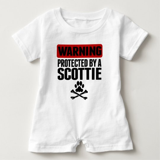 Warning Protected By A Scottie Baby Bodysuit