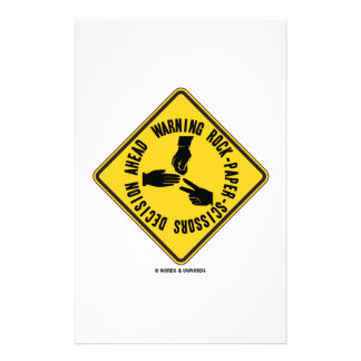 Warning Rock-Paper-Scissors Decision Ahead Sign Stationery Design