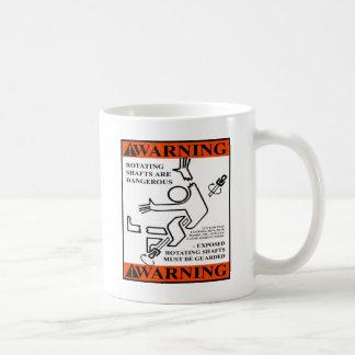 WARNING! ROTATING SHAFTS ARE DANGEROUS BASIC WHITE MUG