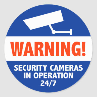 Warning Security Camera Signs Round Sticker