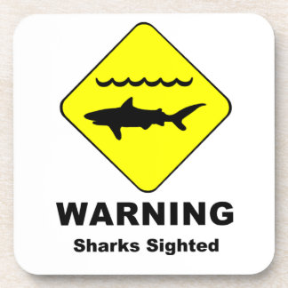 Warning Sharks Sighted Symbol Coaster