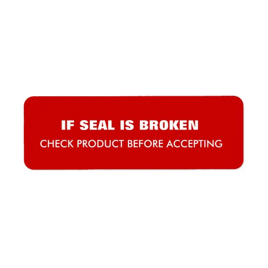 Warning  Shipping Return Address Label
