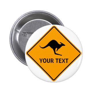Warning Sign Australian Kangaroos Yellow Diamond 6 Cm Round Badge