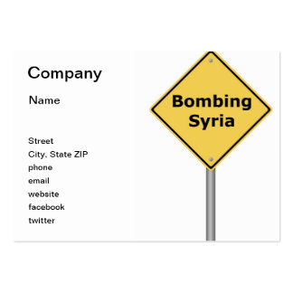 Warning Sign Bombing Syria Large Business Cards (Pack Of 100)