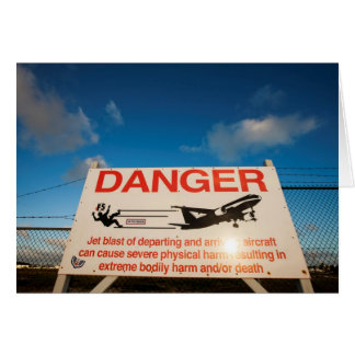 Warning sign near St. Maarten Airport, Card