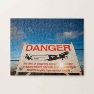 Warning sign near St. Maarten Airport, Jigsaw Puzzle