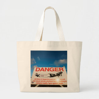 Warning sign near St. Maarten Airport, Large Tote Bag