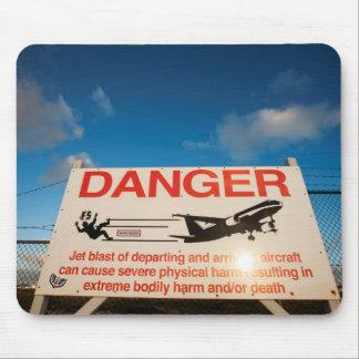 Warning sign near St. Maarten Airport, Mouse Mat