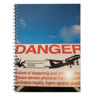 Warning sign near St. Maarten Airport, Notebook