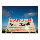 Warning sign near St. Maarten Airport, Postcard