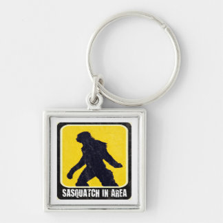Warning Sign - Sasquatch in Area Keychain