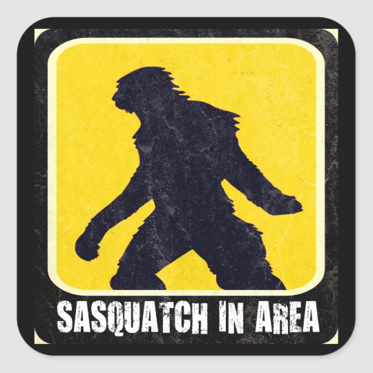 Warning Sign - Sasquatch in Area Square Sticker