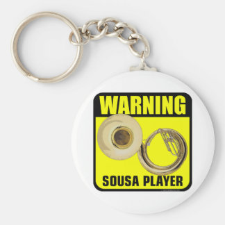 Warning! Sousa Player Basic Round Button Key Ring