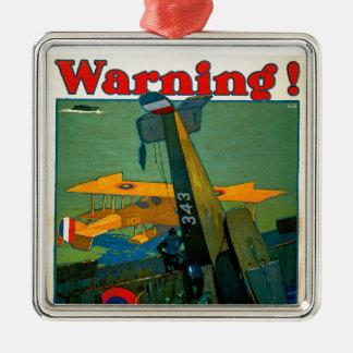 Warning! Square Metal Christmas Ornament