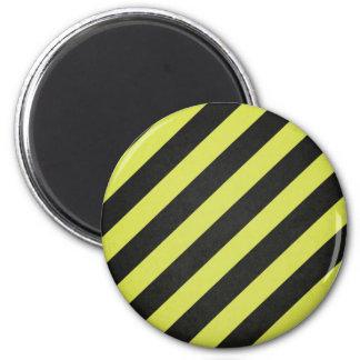 Warning Stripes 6 Cm Round Magnet