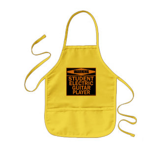 Warning Student Electric Guitar Player Aprons