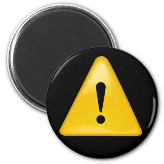 Warning symbol exclamation point triangle 6 cm round magnet