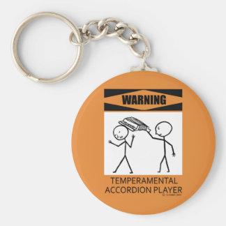 Warning Temperamental Accordion Player Key Ring
