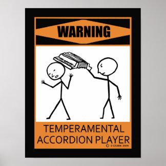 Warning Temperamental Accordion Player Poster