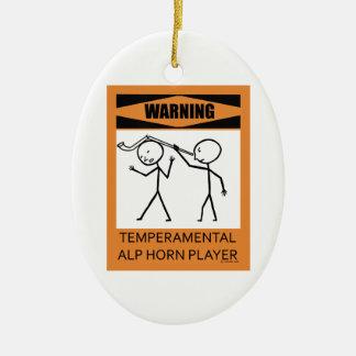 Warning Temperamental Alp Horn Player Ceramic Oval Decoration