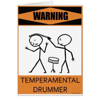 Warning Temperamental Drummer Greeting Cards