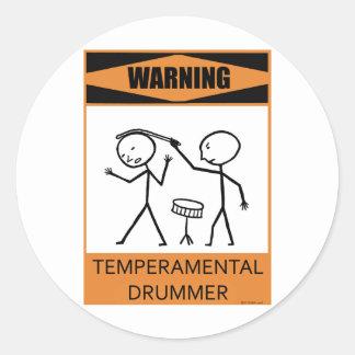 Warning Temperamental Drummer Classic Round Sticker