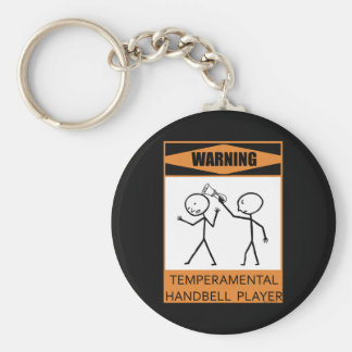 Warning Temperamental Handbell Player Basic Round Button Key Ring