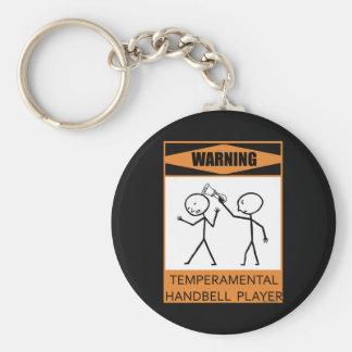 Warning Temperamental Handbell Player Key Ring
