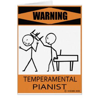 Warning Temperamental Pianist Card