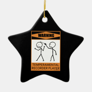 Warning! Temperamental Recorder Player Double-Sided Star Ceramic Christmas Ornament