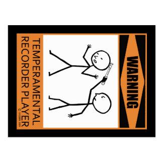 Warning! Temperamental Recorder Player Post Cards