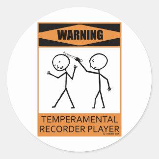 Warning Temperamental Recorder Player Sticker