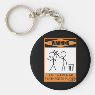 Warning Temperamental Synthesizer Player Basic Round Button Key Ring
