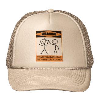 Warning Temperamental Tin Whistle Player Mesh Hat