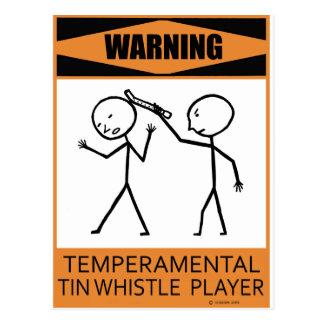 Warning Temperamental Tin Whistle Player Postcard